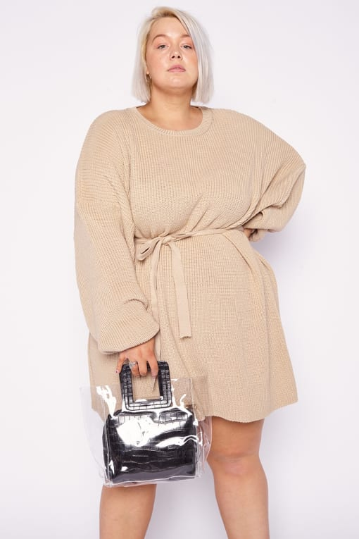 CURVE DANI DYER STONE BELTED OVERSIZED JUMPER DRESS