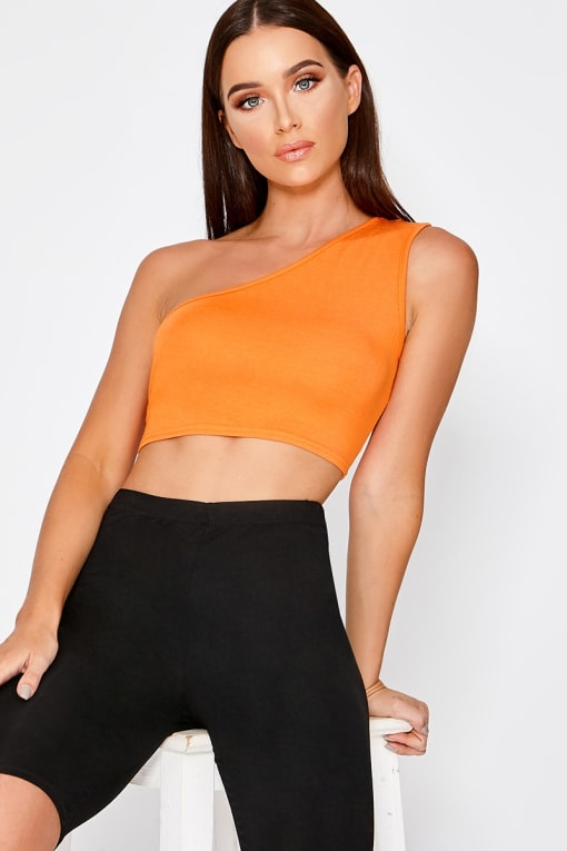 NAVINA ORANGE ONE SHOULDER CROP TOP