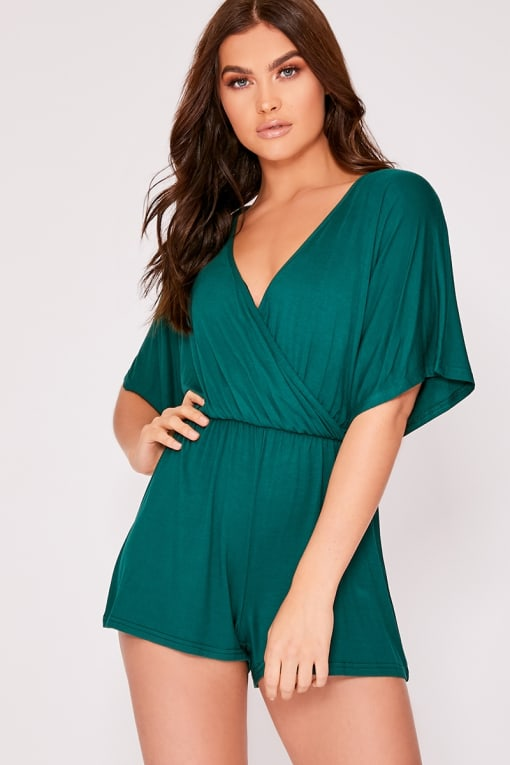 DOROTHY GREEN JERSEY PLUNGE WRAP PLAYSUIT
