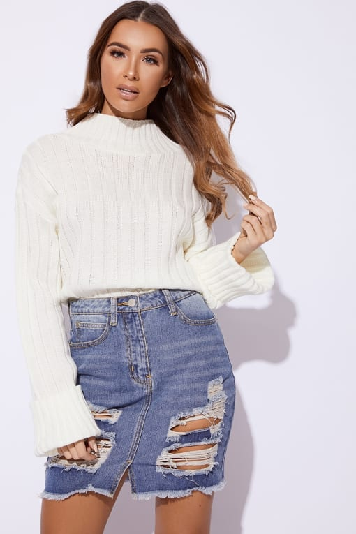 JAMILEE MID WASH DISTRESSED DENIM MINI SKIRT
