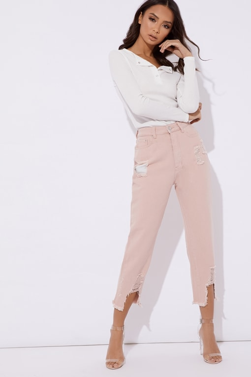 MAVRIC PINK HIGH WAISTED JEANS