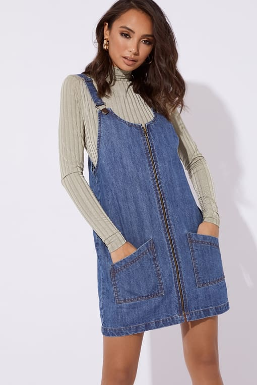 MAKLYA BLUE DENIM ZIP THROUGH PINAFORE DRESS