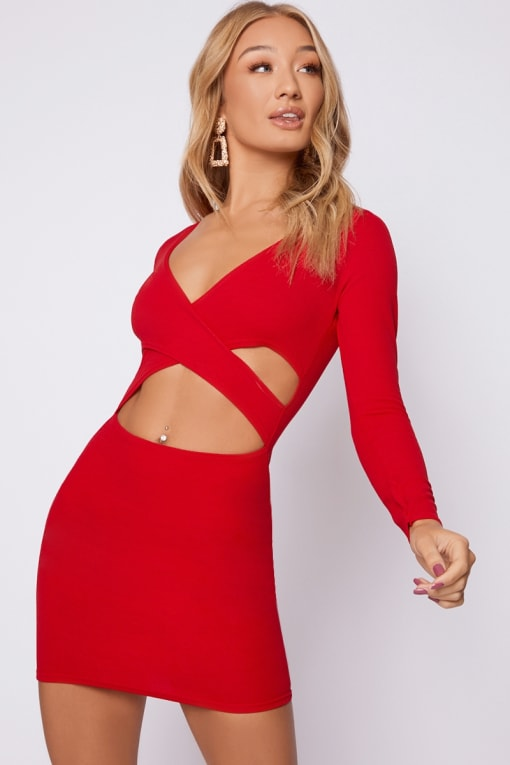 IVANIA RED LONG SLEEVE CUT OUT WRAP DRESS