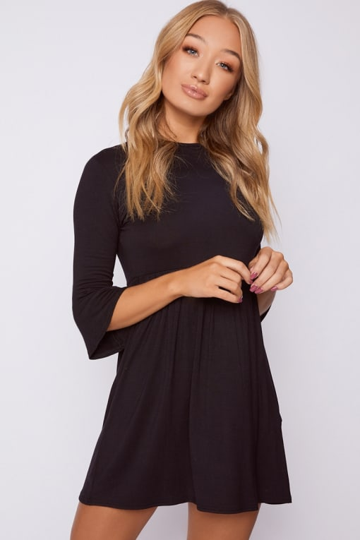 EIRIAN BLACK JERSEY SMOCK DRESS