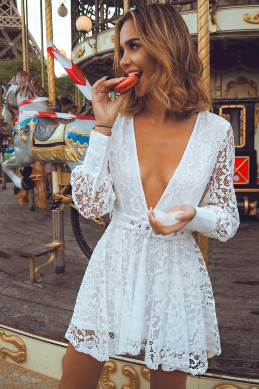 EMILY SHAK WHITE LACE PLUNGE SKATER DRESS