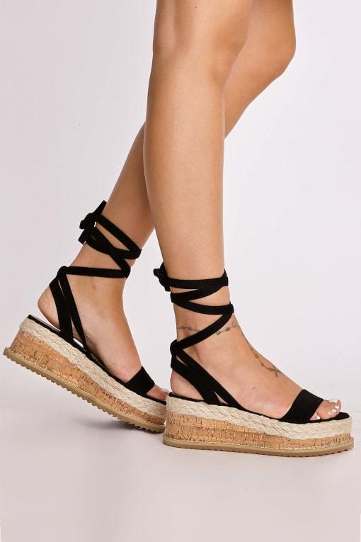 SELBY BLACK FAUX SUEDE TIE LEG PLATFORM ESPADRILLES