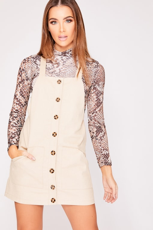 ELOW STONE BUTTON FRONT PINAFORE DRESS
