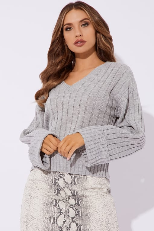 ADIRA GREY V NECK OVERSIZED RIBBED JUMPER