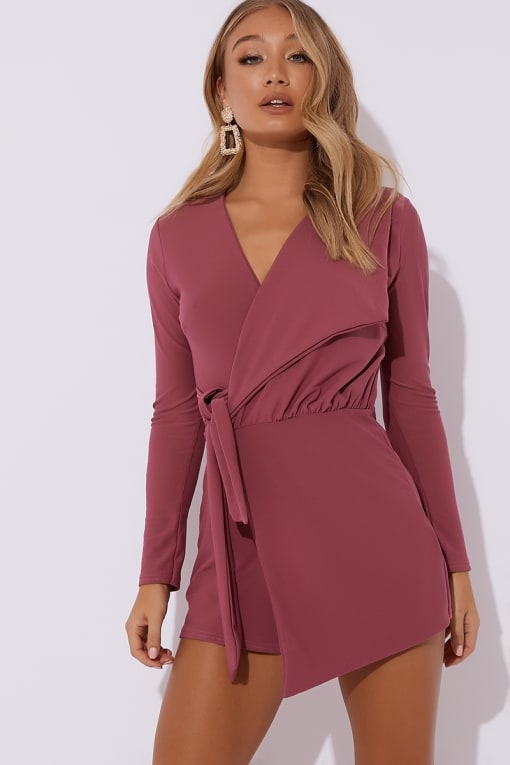 FRANKLYN RASPBERRY PLUNGE WRAP OVER PLAYSUIT