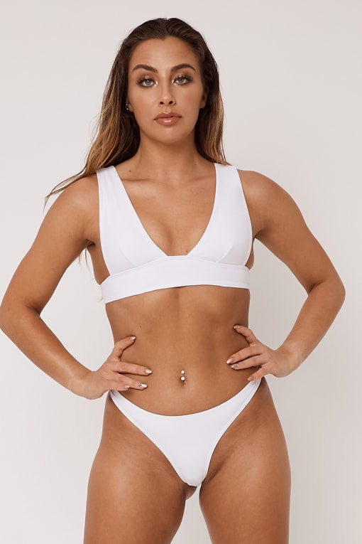 WHITE MIX & MATCH PLUNGE BIKINI TOP