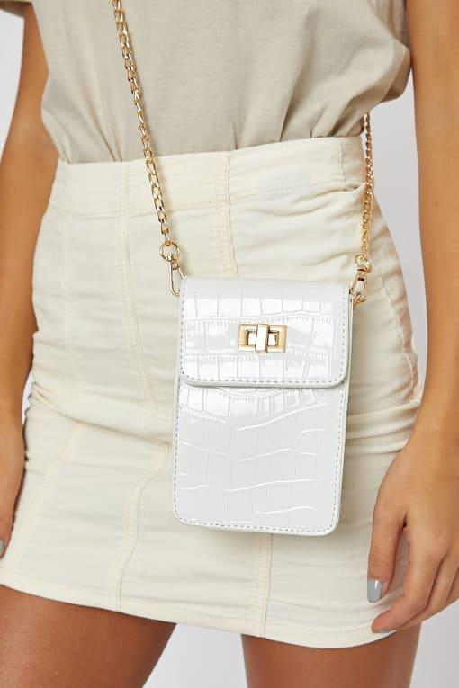 WHITE SMALL FAUX CROC BAG