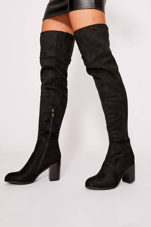 PENIA BLACK FAUX SUEDE MID HEEL OVER THE KNEE BOOTS