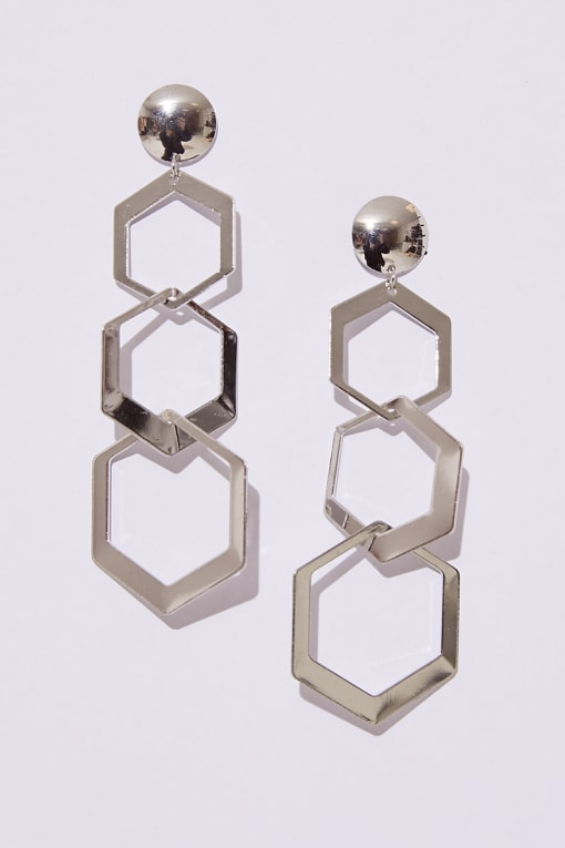 SILVER TRIPLE HEXAGON DROP EARRINGS