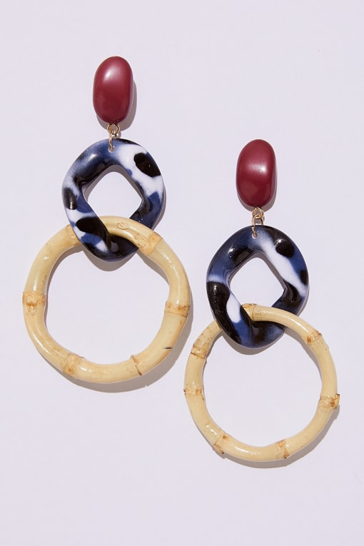 LAYERED BAMBOO STATEMENT EARRINGS