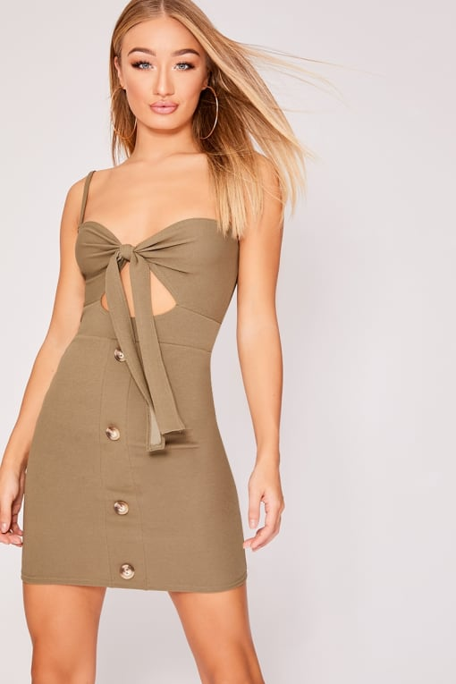 GAEL KHAKI TIE FRONT HORN BUTTON DRESS