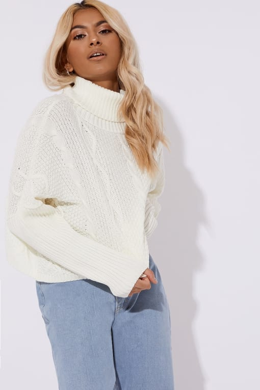 JARMINA CREAM CABLE KNIT CROPPED JUMPER
