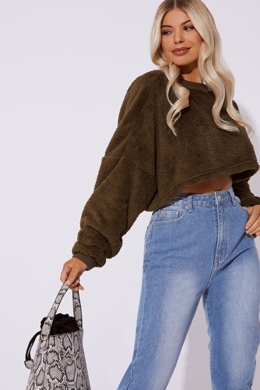 JAKIRA KHAKI TEDDY FUR CROP JUMPER
