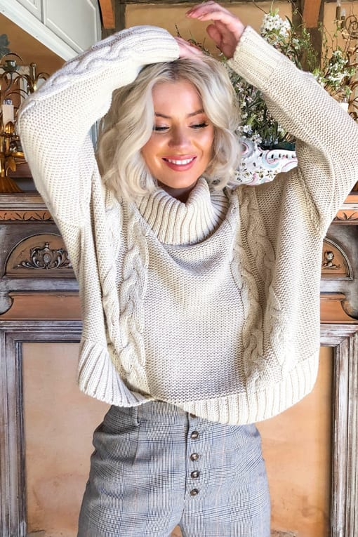 LAURA JADE STONE CROPPED CABLE KNIT JUMPER