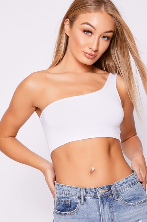 BASIC WHITE ONE SHOULDER CROP TOP