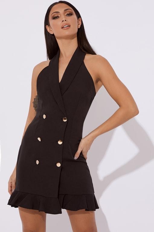 SCARLETT BLACK HALTERNECK BUTTONED MINI DRESS