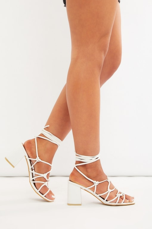 MIKALAH WHITE LACE UP FAUX SUEDE HEELS