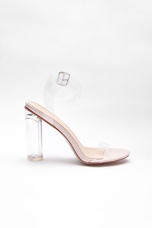 VELDI NUDE CLEAR BARELY THERE BLOCK HEELS