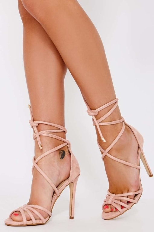 STAR BLUSH FAUX SUEDE LACE UP HEELED SANDALS