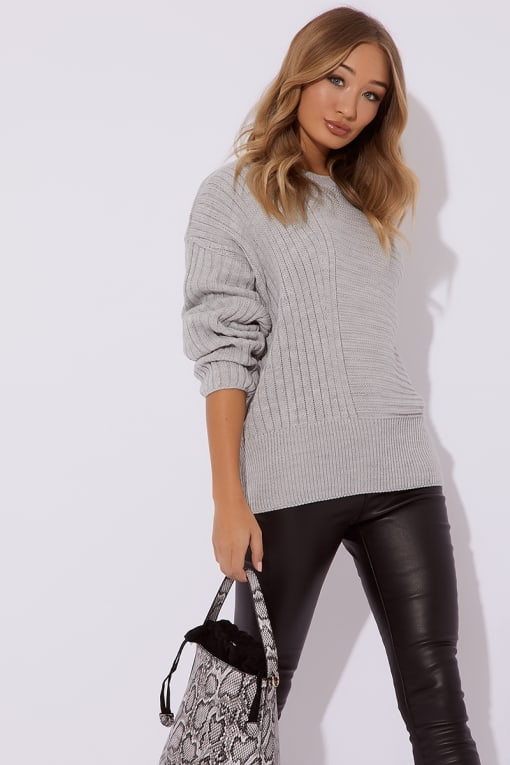 HIRKANI GREY ASYMMETRIC RIB KNITTED JUMPER