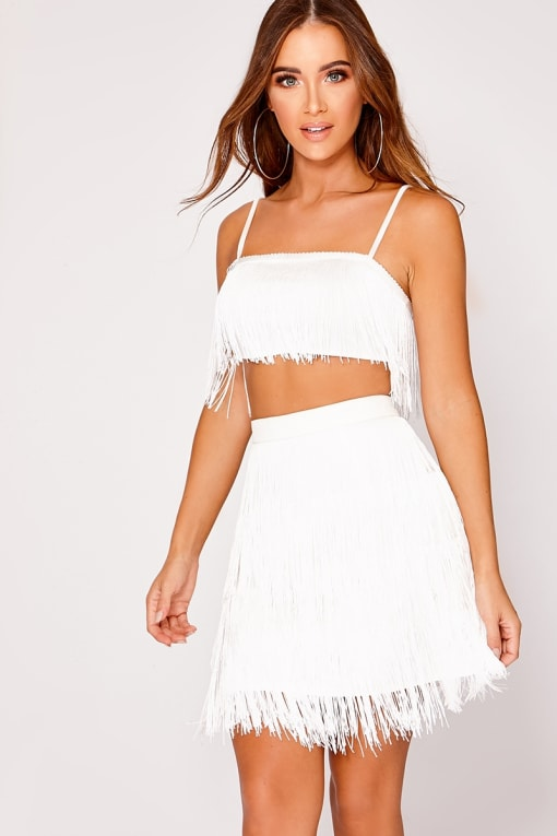 KOOPER WHITE TASSEL LAYER MINI SKIRT
