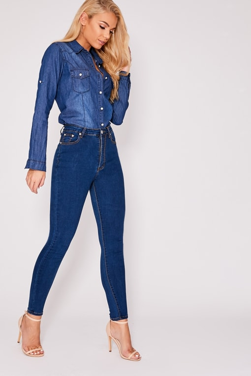 ZANEY MID BLUE DENIM HIGH WAISTED SKINNY JEANS