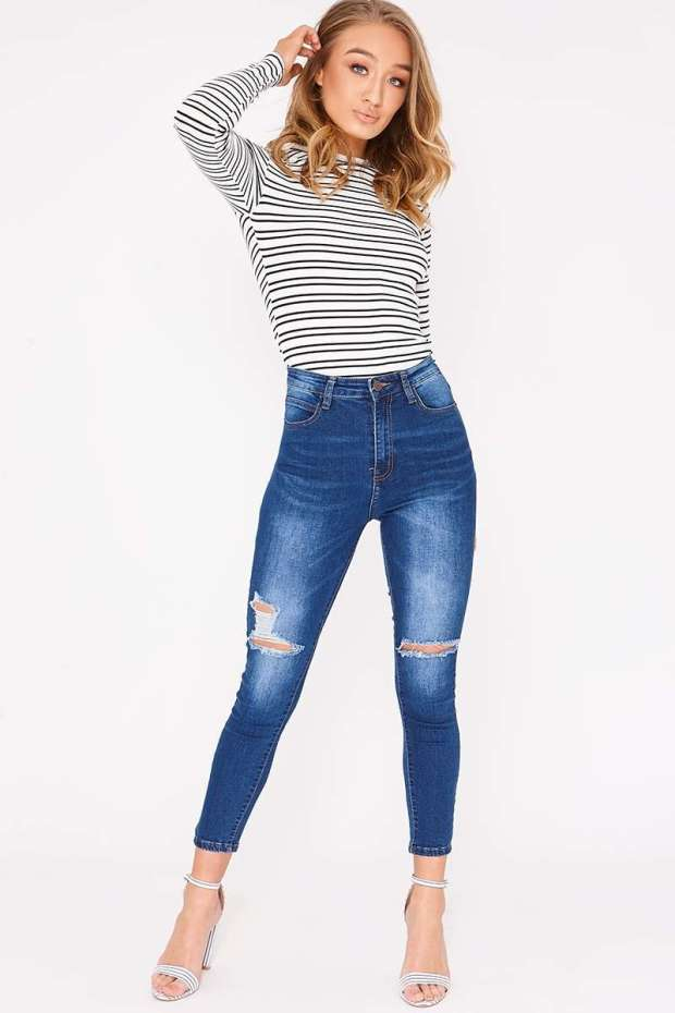 CAIDENCE MID WASH HIGH WAISTED DISTRESSED SKINNY JEANS