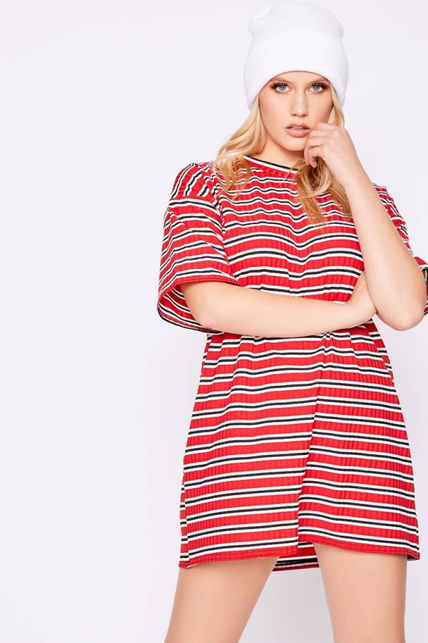 dd25247047 Flarence Red Ribbed Stripe T Shirt Dress