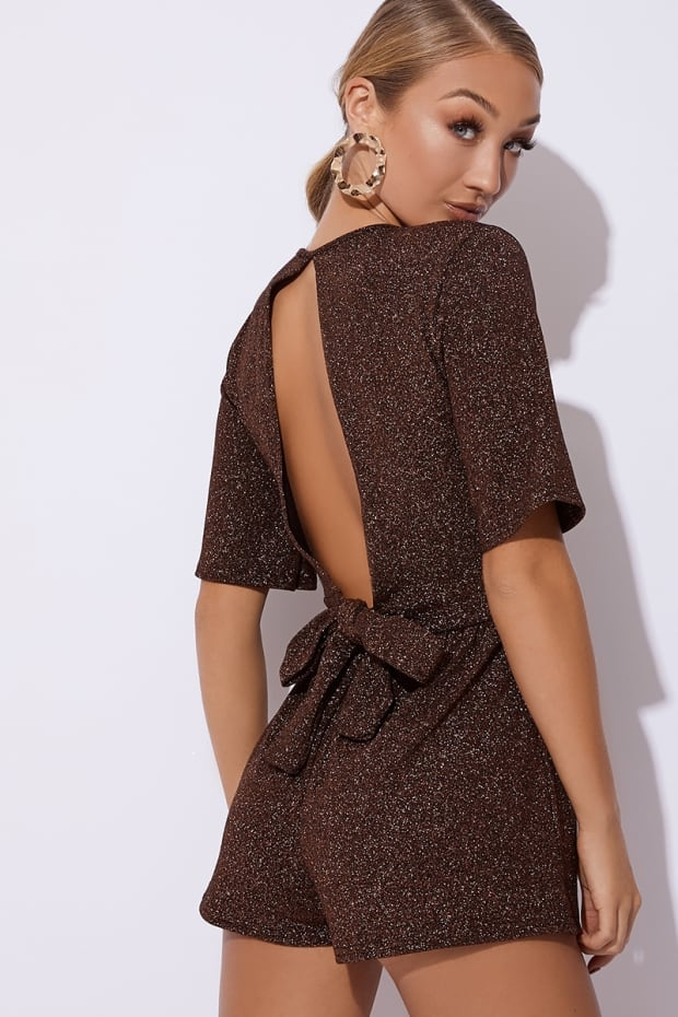 ALIDA COPPER GLITTER WRAP FRONT BACKLESS PLAYSUIT