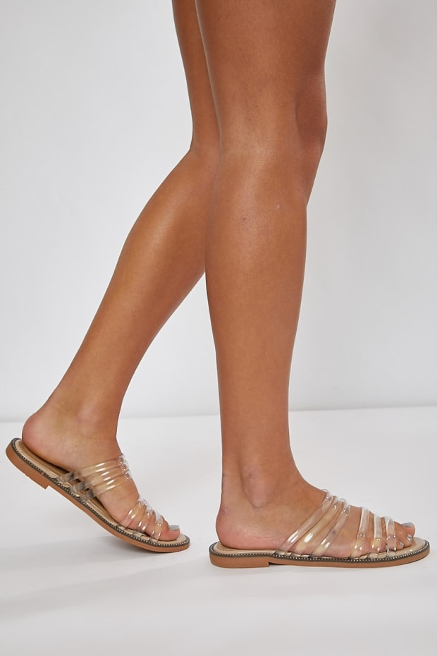 JUSTINIA NUDE CLEAR DOUBLE STRAP SLIDERS