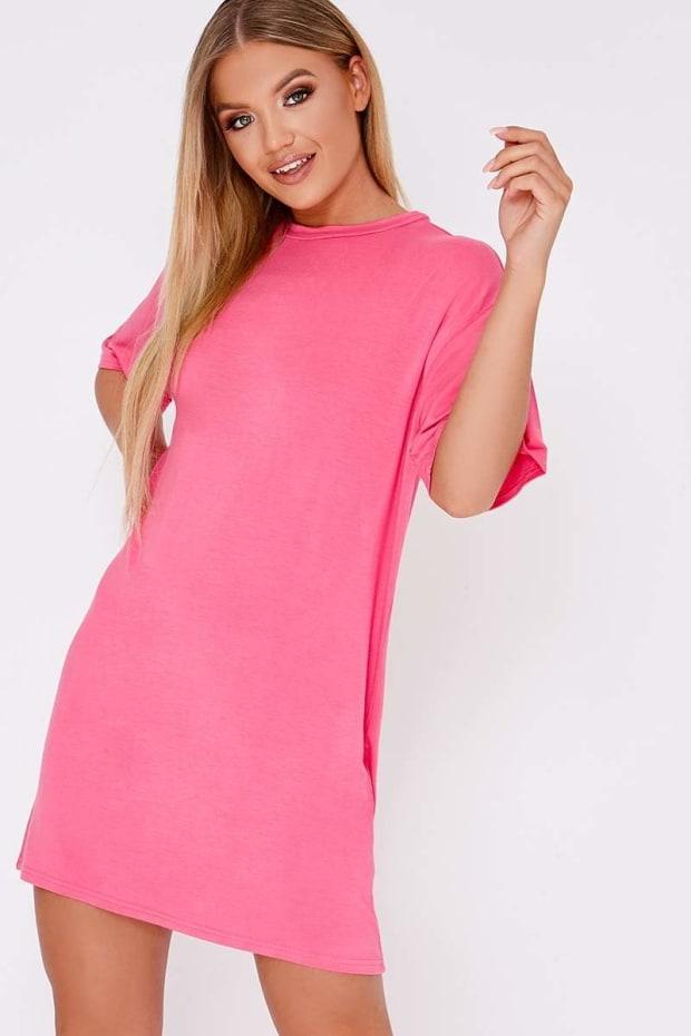 BASIC PINK JERSEY OVERSIZED T-SHIRT DRESS