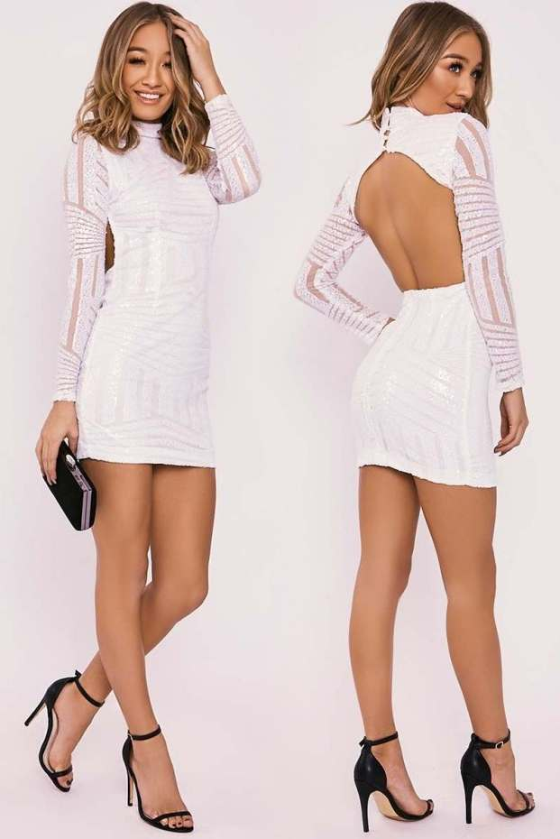 ALAINE WHITE SEQUIN PANELLED BACKLESS LONG SLEEVE DRESS