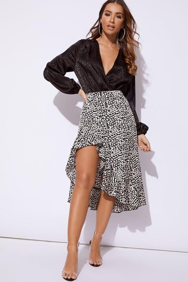 Jhoanne Black And White Leopard Print Satin Wrap Front Midi Skirt ... a84f55fa7