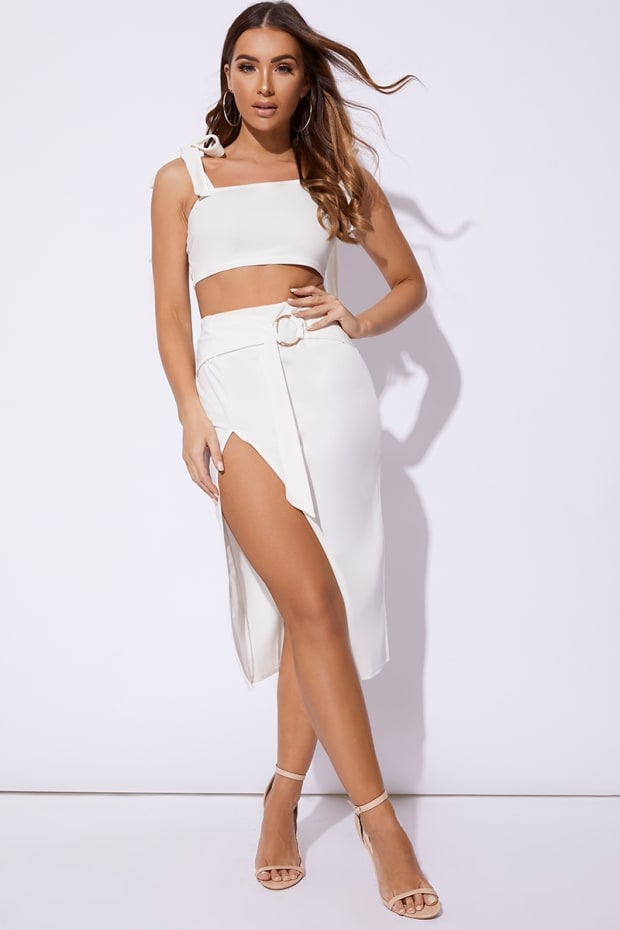 BILLIE FAIERS WHITE RING DETAIL FRONT SPLIT MIDI SKIRT