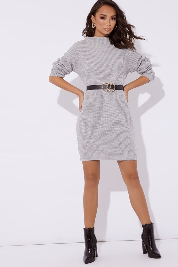 Aabea Grey High Neck Knitted Dress  7ab2c1bbf