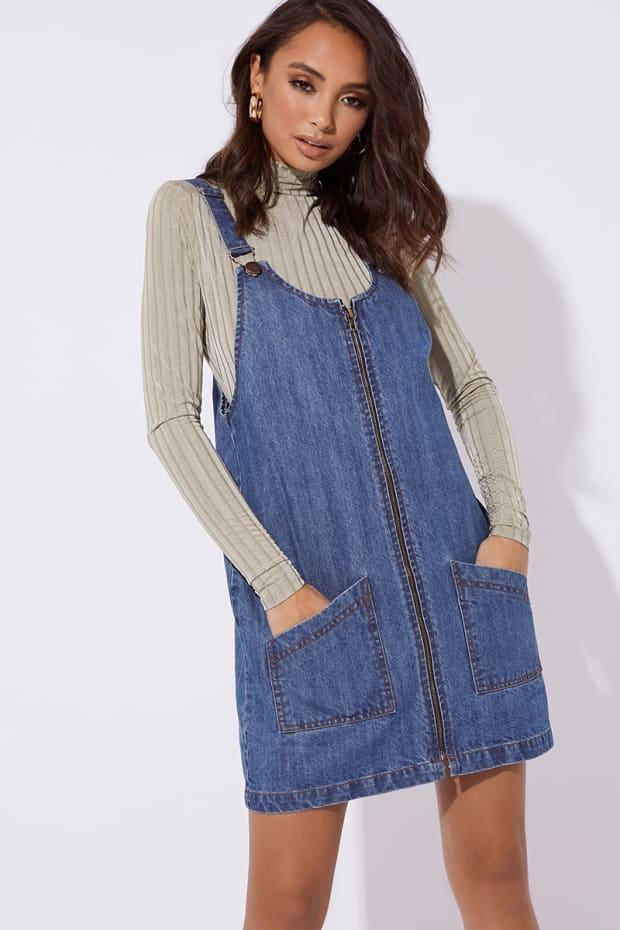 MAKLYA BLUE DENIM ZIP THROUGH PINAFORE DRESS