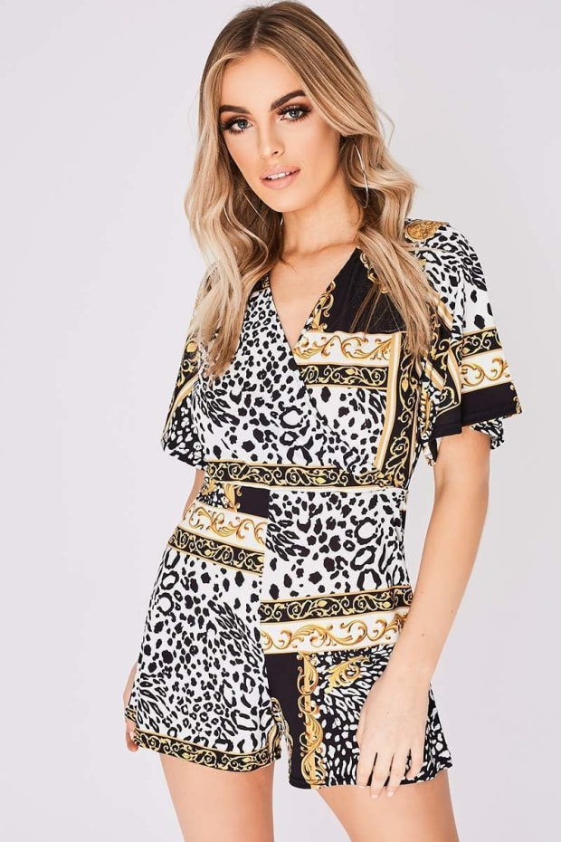TIFF BLACK SCARF PRINT WRAP FRONT PLAYSUIT