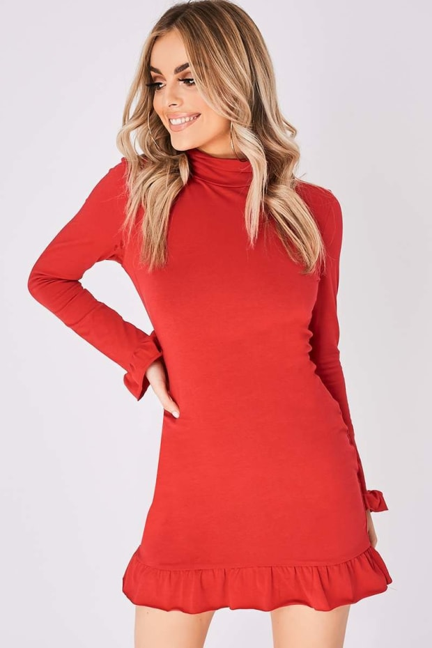 BREIGH RED HIGH NECK RUFFLE HEM MINI DRESS