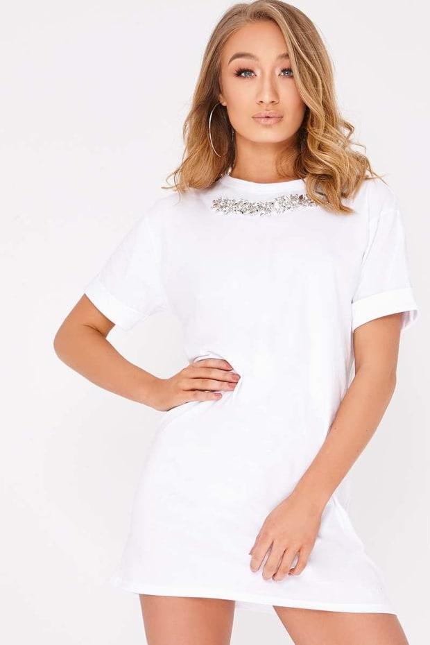 CHERI WHITE EMBELLISHED OVERSIZED T SHIRT DRESS