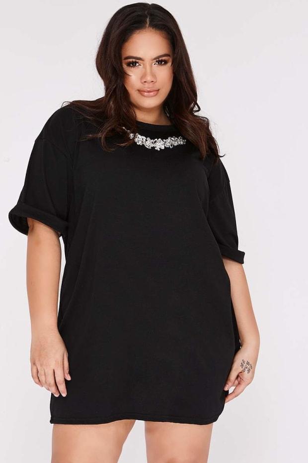 CURVE CHERI BLACK EMBELLISHED OVERSIZED T SHIRT DRESS