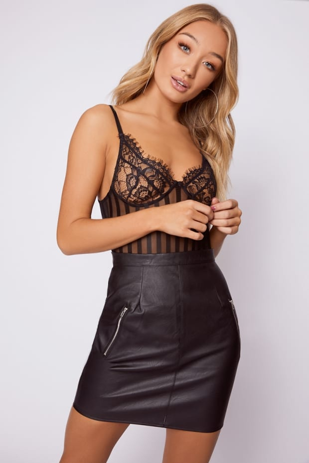 IMMIE BLACK FAUX LEATHER MINI SKIRT
