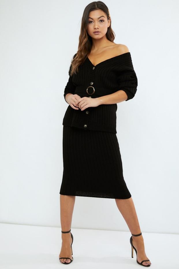 LORNA LUXE 'NO REGRETS' RIBBED BLACK MIDI SKIRT