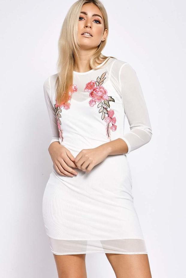 SHAYLIN WHITE MESH APPLIQUE LONG SLEEVED DRESS