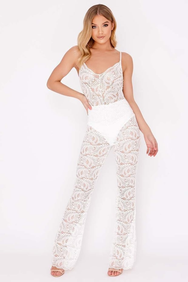9609aa46407 Erynn White Lace Plunge Jumpsuit
