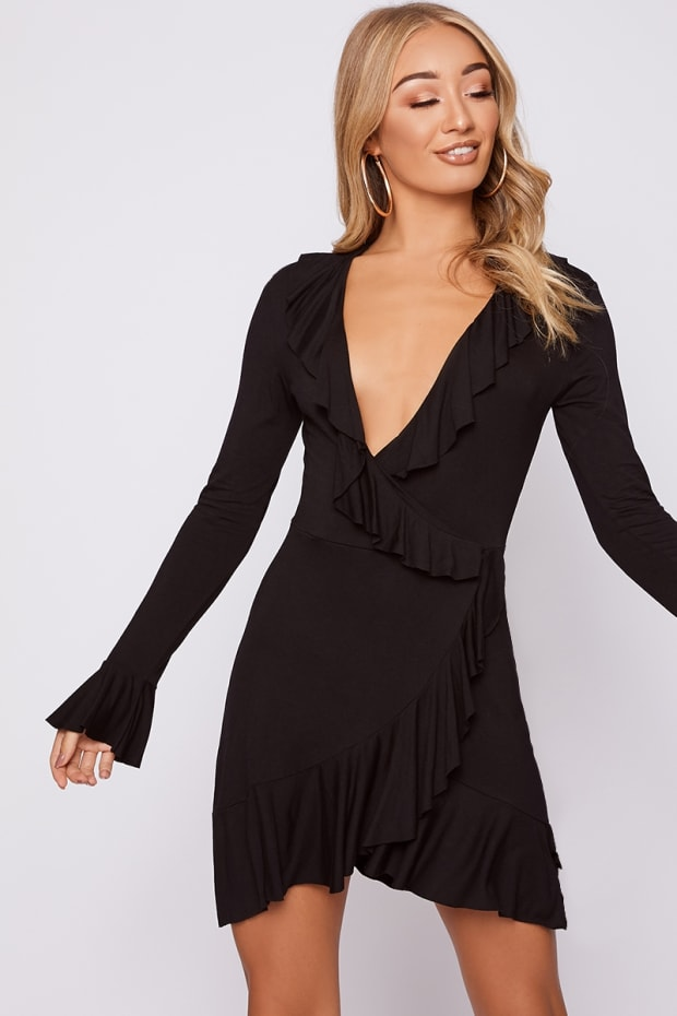 BELAH BLACK JERSEY FRILL WRAP DRESS