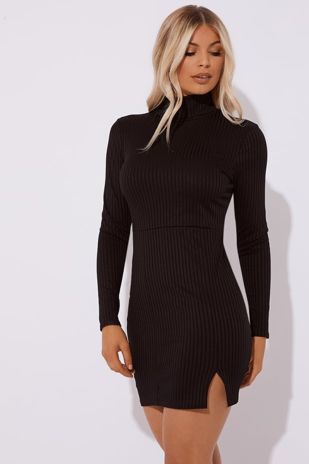 CAETTI BLACK RIBBED HIGH NECK SPLIT MINI DRESS